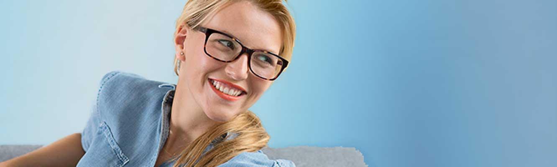 Woman wearing brown eyeglasses