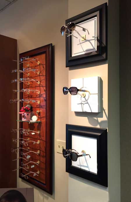 Wall Display of Optical Frames and Sunglasses at Wohl Optics