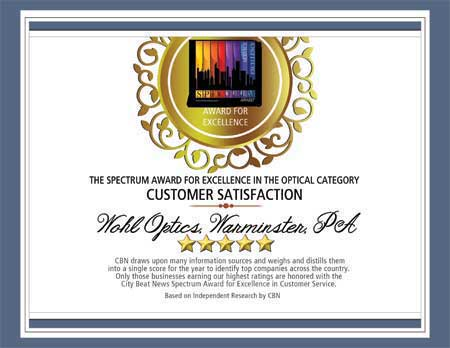 Spectrum Optical Award Customer Service Excellence 2016
