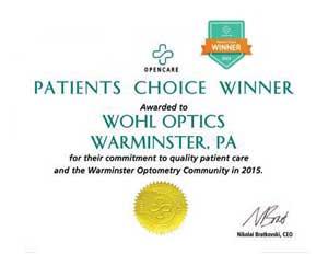 Award Winner 2015 Opencare Patients Optician