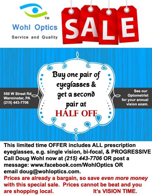 Buy One Pair of Eyeglasses Get Second 50% off